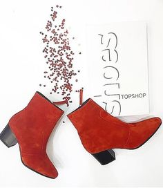 Give the ankle boot a western edge in these suede ankle boots. Crafted from lush red leather suede, we love the western inspired details. Finished with a practical contrasting block heel and inner zip fastening. #Topshop