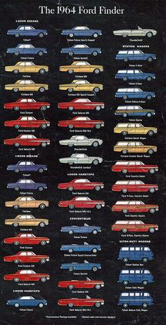 1964 massive choice from Ford Pub Vintage, Vintage Cars, Antique Cars, 1964 Ford, Ford Classic Cars, Ford Fairlane, Ford Falcon, Car Advertising, Us Cars