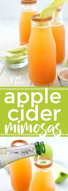 Apple Cider Mimosas are the perfect fall twist on a classic drink. These are great for brunch or any occasion that calls for champagne! Easy fall drink recipe from @whattheforkblog