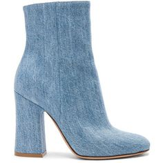 Gianvito Rossi Denim Shelly Booties (17,775 MXN) ❤ liked on Polyvore featuring shoes, boots, ankle booties, leather sole boots, side zip boots, gianvito rossi, denim booties and high heel boots
