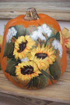 Pumpkin Autumn Decorations Sunflowers Fall by barndoordesigns, $30.00