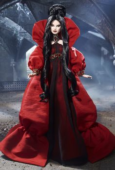 Haunted Beauty Vampire Barbie | The Haunted Beauty Vampire ™ Barbie ® doll wears a red charmeuse ...