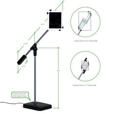 The stand is 32 inches from the floor to the tee joint. The counterbalance is 6.75 inches long. The distance from the center of the tee joint to the end of the counterbalance is 15.25 inches. The Distance from the center of the tee joint to the outside edge of the tablet is 26.5 inches. The USB cable extends 60 inches from the edge of the base. The Universal Head Assembly will work with tablets from 7.5 inches diagonally up to 14.5 inches diagonally.
