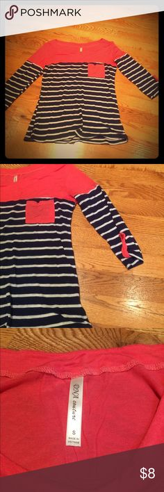 Boutique Pink with navy/white stripe top size S Purchased from pinklilyboutique in size Small. Cute 3/4 sleeve top with pink/coral on top, pocket, and sleeve accents and navy/white stripes. Super soft! dna couture Tops Tees - Long Sleeve