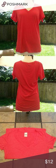 Victoria's Secret Pink V Neck T Shirt  L 60% Cotton 40% Polyester, V neck PINK Victoria's Secret Tops Tees - Short Sleeve