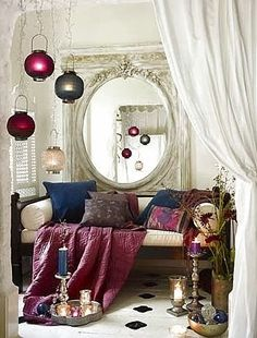 Cozy Bohemian jewel tones give a feeling of warmth & luxury--KNOWING HOW to pull of Boho Chic! <3...nailed it!!!