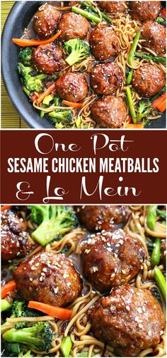 One Pot Sesame Chicken Meatballs & Lo Mein Sesame Chicken Meatballs & Lo Mein Recipe. Our most popular one pot recipe combines your favorite chinese take out flavors with an easy at home dinner - Sesame Chicken Meatballs & Lo Mein Recipe One Pot Dishes, One Pot Meals, Easy Meals, Chicken Meatball Recipe Easy, Chicken Recipes, Recipes With Chicken Meatballs, Meatball Dish, Ground Chicken Meatballs, Asian Recipes