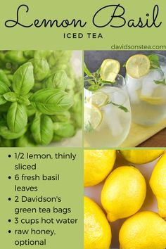Add lemon slices, fresh basil leaves, and green tea bags to a 1 quart jar. Pour hot water into the jar, and steep for 15 minutes. Place in the fridge to chill for hours. Pure Green Tea, Best Green Tea, Organic Green Tea, Basil Tea, Lemon Basil, Fresh Basil, Fresh Herbs, Green Tea Drinks, Green Tea Bags