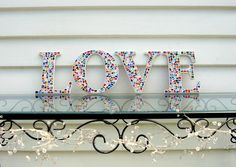 LOVE  mosaic wall art by Sigmosaics on Etsy, $110.00