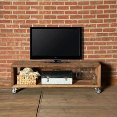 Urban Rustic Media Stand by Urban Wood Goods Tv Wall Cabinets, Diy Tv Stand, Simple Tv Stand, Industrial Chic, Pallet Furniture, Woodworking Furniture, Custom Woodworking, Wood Pallets, Pallet Wood