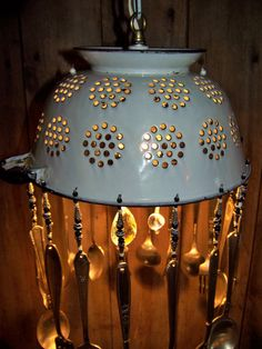 Repurposed Vintage Enameled Colander Chandelier by malindadickens