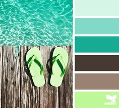 Color inspiration. Find an item that speaks to you and go from there! Tropical design seeds. Teal, mint, brown