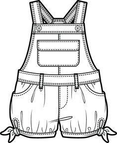 Best 11 Kid's overalls technical fashion flat sketch – SkillOfKing. Clothing Sketches, Dress Sketches, School Fashion, Kids Fashion, Fashion Vector, Baby Dress Design, Flat Sketches, Fashion Sketchbook, Fashion Design Sketches