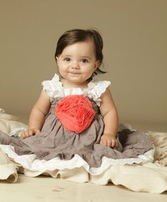 Gray, Coral & White Eyelet Dress from The Couture Baby