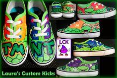 Custom Teenage Mutant Ninja Turtle TMNT  hand painted shoes. Check out Laura's Custom Kicks on Facebook.