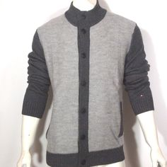 Tommy Hilfiger Men's 100% Wool Color Block Cardigan Sweater Size large NWT  #Tommyhilfiger #Cardigan