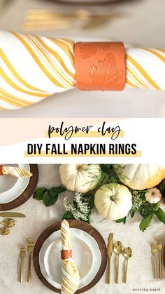 DIY Thanksgiving Napkin Rings — polymer clay tutorial These are adorable and she's too funny! Thanksgiving Diy, Thanksgiving Table Settings, Farmhouse Napkins, Christmas Centerpieces, Clay Tutorials, Fall Decor, Polymer Clay, Brunch, Dinner Table