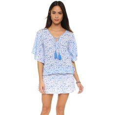 TIARE HAWAII Jimbaran Short Dress (139 AUD) ❤ liked on Polyvore featuring dresses, floral print dress, short dresses, smock dress, floral v neck dress and viscose dress