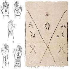 Berber Tattoos and Moroccan Beni Ourain Rug