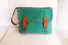 Green Waxed Canvas Messenger Bag Single Leather Strap by ottobags, $79.00