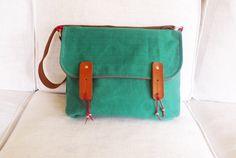 Green Waxed Canvas Single Leather Strap Shoulder bag / Cross Body Messenger / School / Travel / Laptop bag