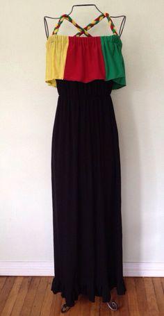Jersey knit Jamaican flag colors rastafari reggae inspired summer dress/ maxi dress on Etsy, $80.00