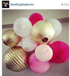 Gold Pink lantern chandy