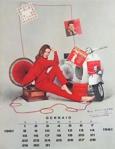 1961 Vespa calendar in italian (jan)