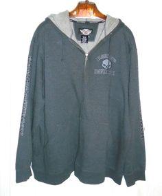 HARLEY DAVIDSON Gray Zip Willi G Hoodie Jacket Size 4X #HarleyDavidson #Hoodie