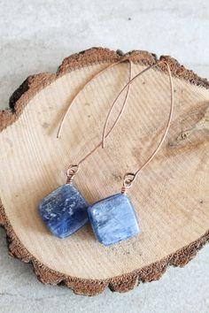Copper & Kyanite Drop Earrings by WildBalanceJewelry on Etsy