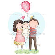 Bambini illustrazione - illustrazione di vivaio, famiglia, amore, nuovo nato, compleanno, mamma e papà stampa di ShivaIllustrations su Etsy https://www.etsy.com/it/listing/207938931/bambini-illustrazione-illustrazione-di