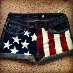 red white and blue shorty shorts