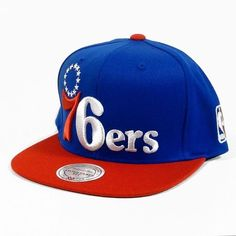 e104aff38d1d6 Philadelphia 76ers Mitchell   Ness XL Vintage Logo 2 Tone Snapback Blue and  Red Hat by Mitchell   Ness.  25.47