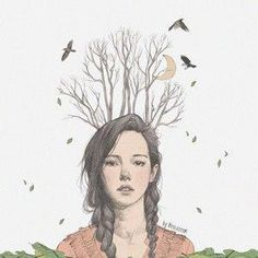 Illustration, woman with trees in her hairs and birds. Art And Illustration, Illustrations And Posters, Kunst Inspo, Art Inspo, Art Magique, Drawn Art, Pretty Art, Steven Universe, Art Girl