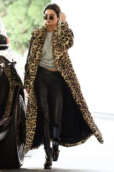 Kendall Jenner wearing Hermes Birkin Bag, Plein Sud Fall 2016 Leopard Coat and Gucci Leather Ankle Boots