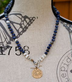 Denim blue knotted necklace Boho chic bronze by Mollymoojewels