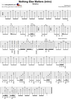 Metallica - Nothing Else Matters w/ fingerstyle guitar tablature Guitar Tabs Songs, Guitar Sheet Music, Music Tabs, Music Music, Acoustic Guitar Notes, Guitar Chords, Acoustic Guitars, Guitar Scales, Online Guitar Lessons