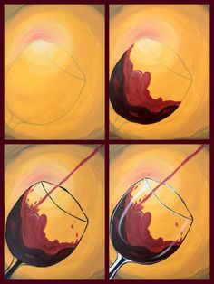 """Evolution of the ""Cabernet Cascade""  painted by Leslie Binder @ Painting with a Twist Miami."