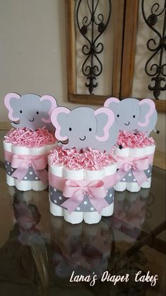 Items similar to SET OF 3 Pink And Gray Elephant Mini Diaper cake, Baby Shower Centerpiece on Etsy Baby Shower Niño, Shower Bebe, Shabby Chic Baby Shower, Baby Shower Diapers, Baby Shower Balloons, Baby Shower Favors, Baby Shower Cakes, Baby Shower Gifts, Baby Gifts