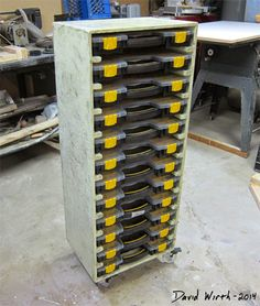 Learn how Harbor Freight customer Dave Wirth created mobile cabinet for 12 20-bin storage cases. Diy Garage Storage, Shop Storage, Storage Cart, Storage Bins, Van Storage, Storage Systems, Garage Shelf, Storage Ideas, Small Parts Storage