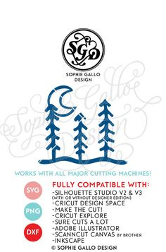 Night Moon & Trees Cut SVG & DXF files instant download WHAT YOU'LL GET ~ 3 files: 1 SVG file that is compatible with Silhouette Studio, Cricut Design Space, CorelDRAW, Adobe Illustrator, Inkscape, Making the Cut, Sure Cuts A lot, and various other vinyl cutting machines and software.  A DXF file (which is compatible with the basic Silhouette Studio program -- no upgrade to design studio necessary)!  1 PNG file that can be edited in Photoshop and other software.  NO SHIPPING - INSTANT...