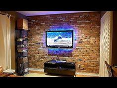 How To Build An Exposed Brick Veneer On An Interior Wall - YouTube Brick Veneer Wall, Brick Wall Paneling, Faux Brick Panels, Stone Panels, Brick Columns, Brick Walls, Stuffed Animals, Living Room Wall Designs, Brick Face