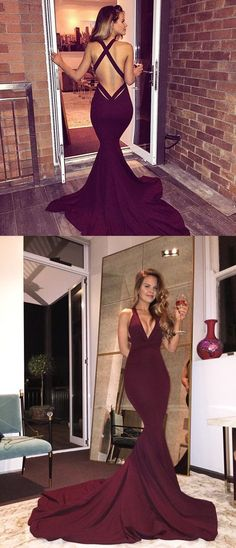 burgundy long prom dress, 2017 long prom dress, mermaid long prom dress with criss cross back: