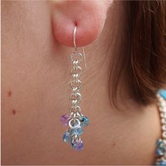 Shaggy Beaded Chainmaille Earrings in by ChainedByLightness, $20.00