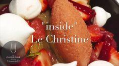 Entrez dans la cuisine du Christine, le Chef Rémi Poulain compose le dessert : Rhubarbe pochée et fraises fraîches, sorbet fraise basilic et meringue croquante
