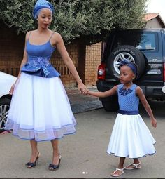 Shweshwe Traditional Attire For African Women's 2019 - Traditional Attire Traditional Dresses For Kids, African Traditional Wear, Traditional Wedding Dresses, Traditional Outfits, African Attire, African Dress, African Wear, Seshweshwe Dresses, African Fashion Designers
