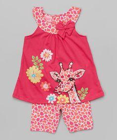 Another great find on #zulily! Pink Giraffe Tank & Shorts - Toddler & Girls #zulilyfinds
