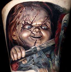 Artwork, Apparel and more by artist Javier Antunez; specializing in realism, fantasy, and dark art. Horror Movie Tattoos, Horror Movies, Love Tattoos, I Tattoo, Chucky Tattoo, Creepy Dolls, Tattoo Designs, Tattoo Ideas, Dark Art