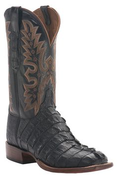 Lucchese® Cowboy Collection™ Men's Black Giant Croc Tail Exotic Square Toe Cowboy Boot