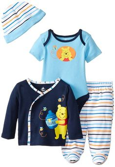 Disney Baby Boys' Winnie The Pooh 4 Piece Set,Navy/Lt. Blue/Multi, 3-6 Months